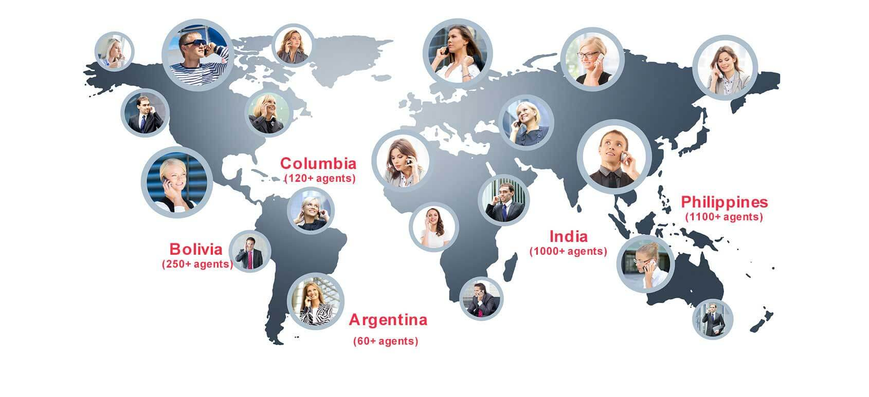 ExpertCallers global delivery centers (India, Philippines, Bolivia, Colombia & Argentina)