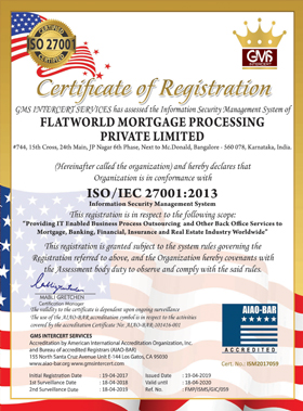 flatworld Solutions ISO certificate